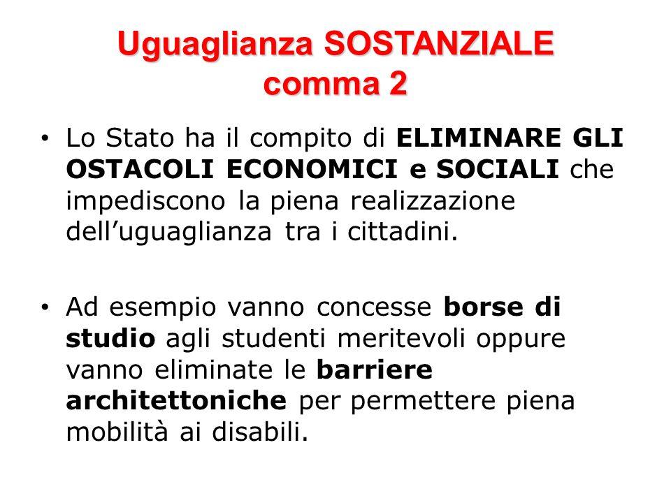 Uguaglianza SOSTANZIALE comma 2 Lo Stato ha il compito di ELIMINARE GLI OSTACOLI ECONOMICI e SOCIALI che impediscono la piena realizzazione delluguagl
