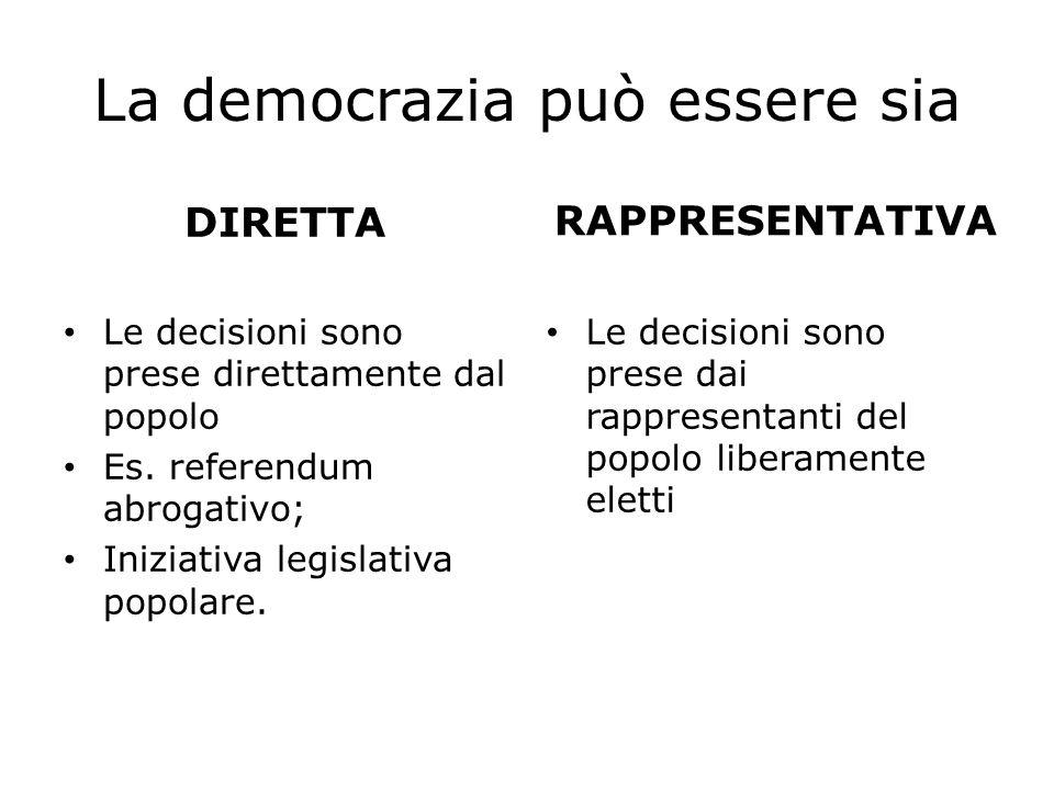 La democrazia può essere sia DIRETTA Le decisioni sono prese direttamente dal popolo Es. referendum abrogativo; Iniziativa legislativa popolare. RAPPR