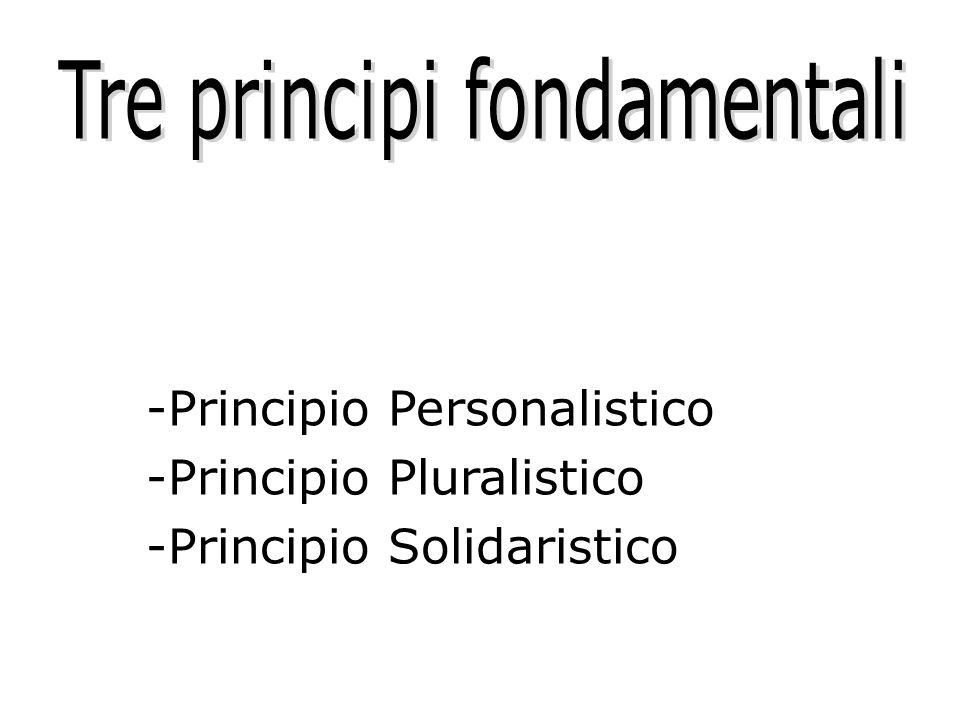 -Principio Personalistico -Principio Pluralistico -Principio Solidaristico