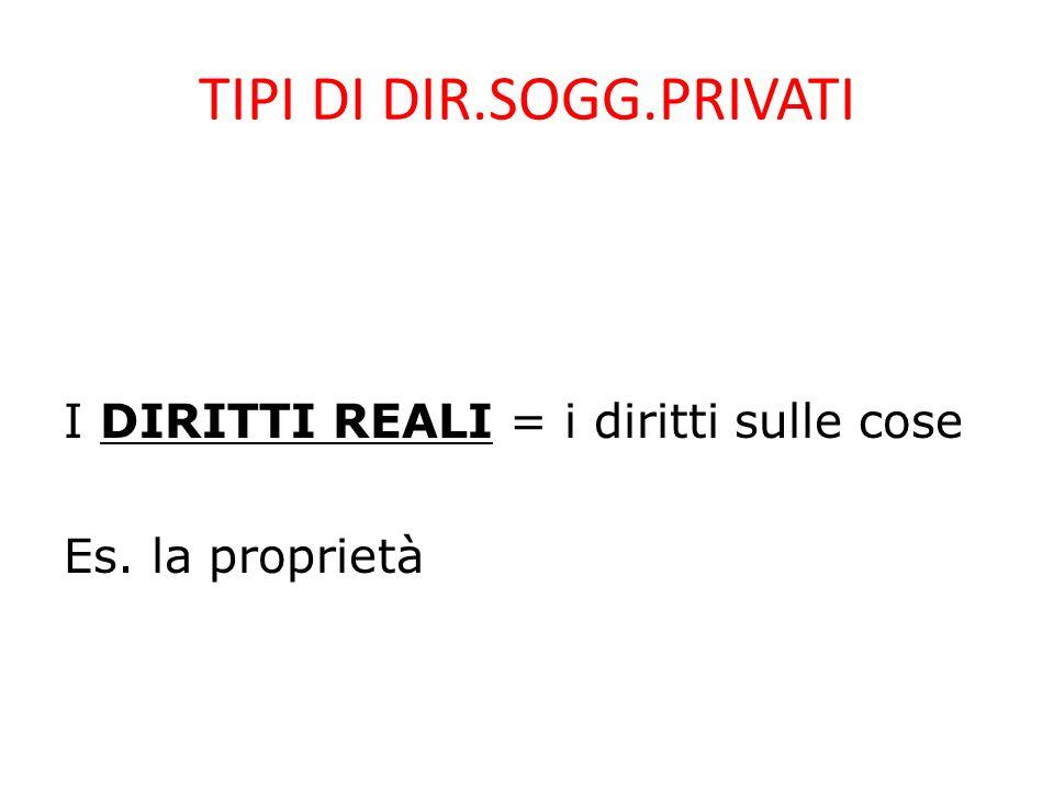 TIPI DI DIR.SOGG.PRIVATI I DIRITTI REALI = i diritti sulle cose Es. la proprietà