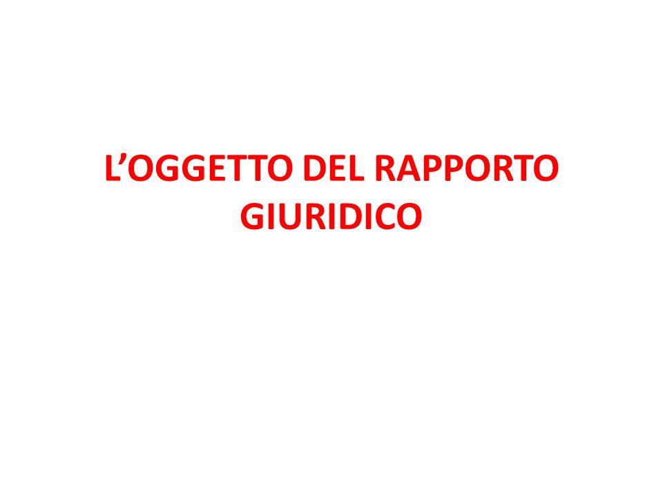 LOGGETTO DEL RAPPORTO GIURIDICO