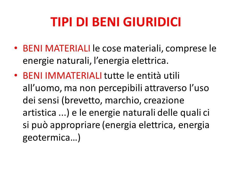 TIPI DI BENI GIURIDICI BENI MATERIALI le cose materiali, comprese le energie naturali, lenergia elettrica. BENI IMMATERIALI tutte le entità utili allu