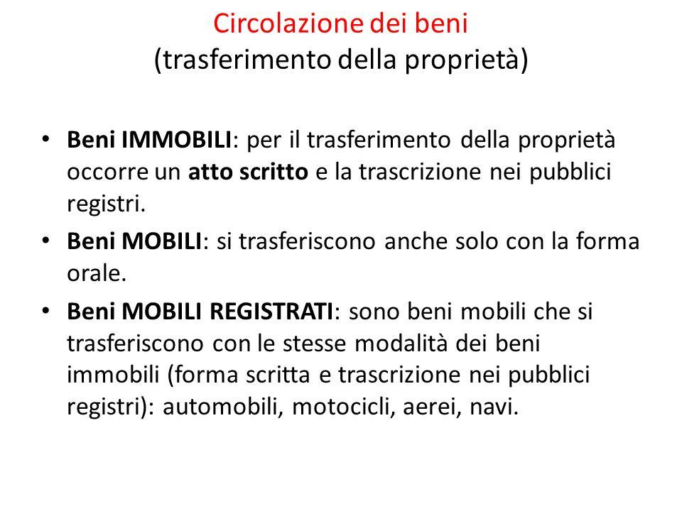 Circolazione dei beni (trasferimento della proprietà) Beni IMMOBILI: per il trasferimento della proprietà occorre un atto scritto e la trascrizione ne
