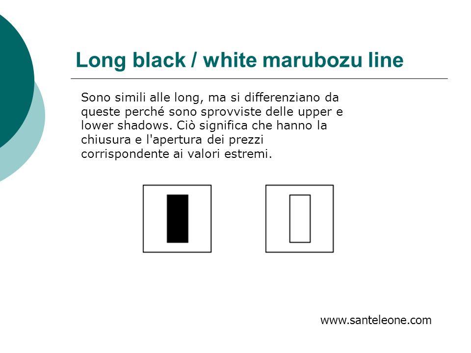 Long black / white marubozu line www.santeleone.com Sono simili alle long, ma si differenziano da queste perché sono sprovviste delle upper e lower sh