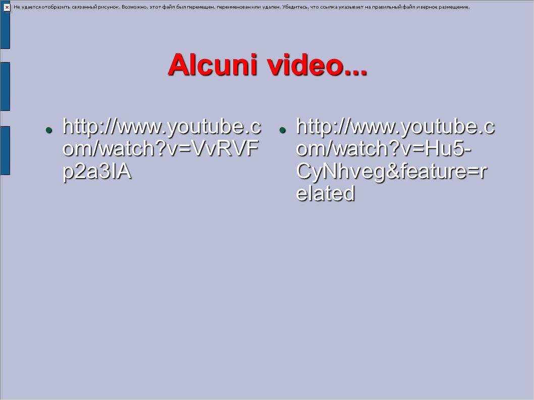 Alcuni video... http://www.youtube.c om/watch?v=VvRVF p2a3IA http://www.youtube.c om/watch?v=VvRVF p2a3IA http://www.youtube.c om/watch?v=Hu5- CyNhveg
