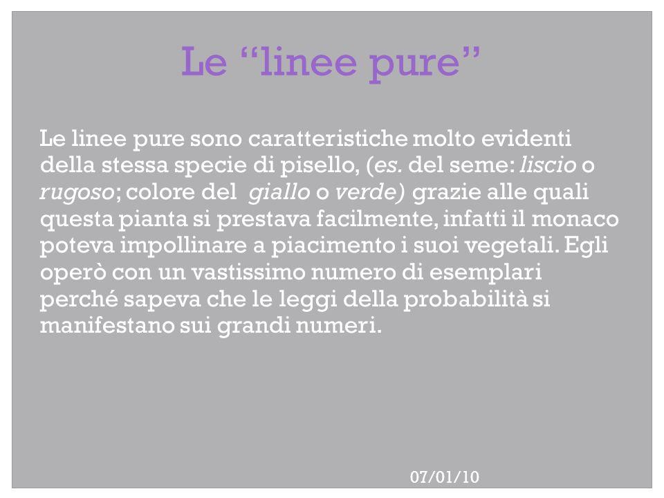 07/01/10 Le linee pure Le linee pure sono caratteristiche molto evidenti della stessa specie di pisello, (es. del seme: liscio o rugoso; colore del gi