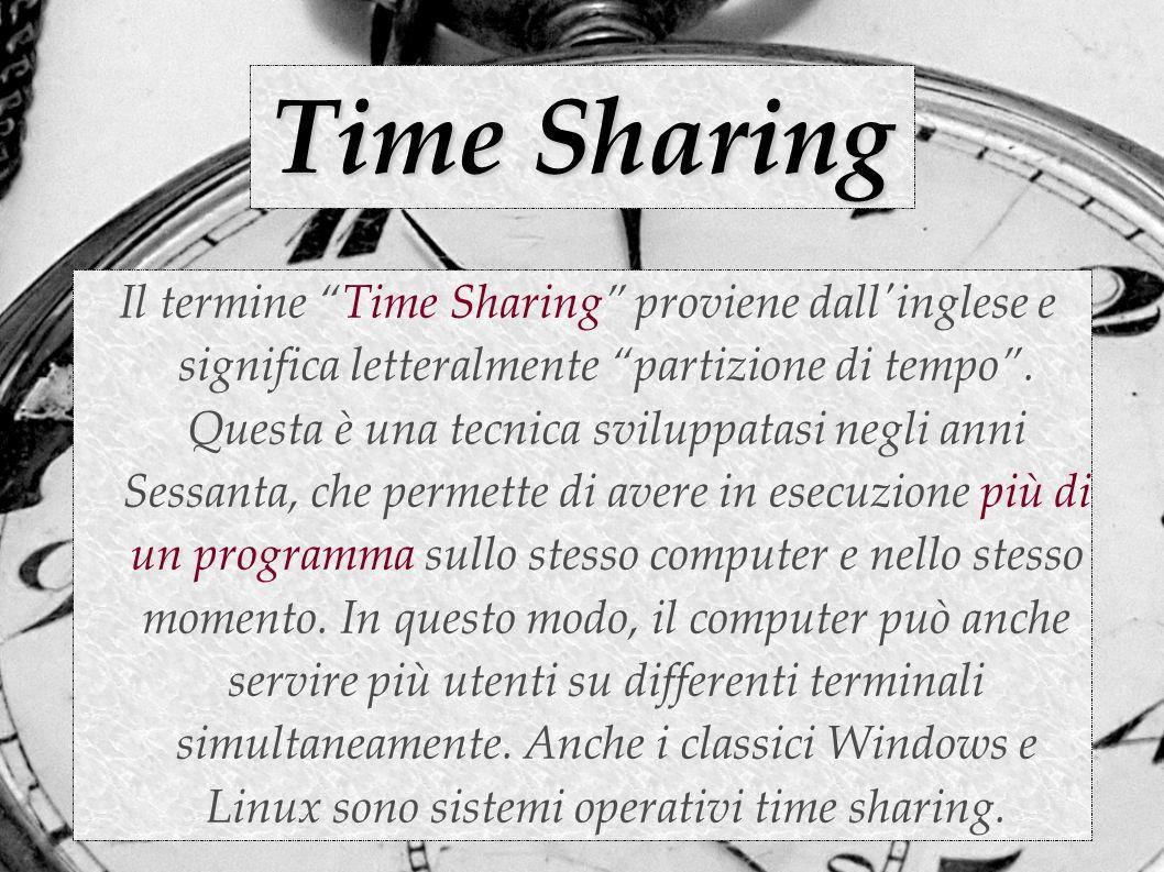 Le idee che stanno alla base Il time sharing è basato sull idea che un computer consumi la maggior parte del suo tempo in attesa che succeda qualcosa.