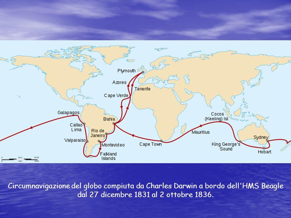 Nel suo viaggio visitò le isole di Capo Verde, le Isole Falkland, la costa del Sud America, le Isole Galápagos e l Australia.