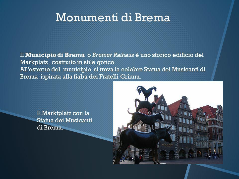 Monumenti di Brema Il Municipio di Brema o Bremer Rathaus è uno storico edificio del Markplatz, costruito in stile gotico. All'esterno del municipio s