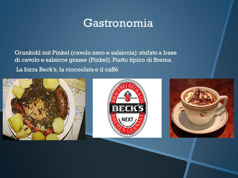 Gastronomia Grunkohl mit Pinkel (cavolo nero e salsiccia): stufato a base di cavolo e salsicce grasse (Pinkel). Piatto tipico di Brema. La birra Becks