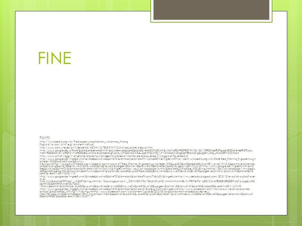 FINE Fonti: http://it.wikipedia.org/wiki/File:Koppen_classification_worldmap_Af.png Foglio di lavoro: i climi e gli ambienti naturali http://www.comun