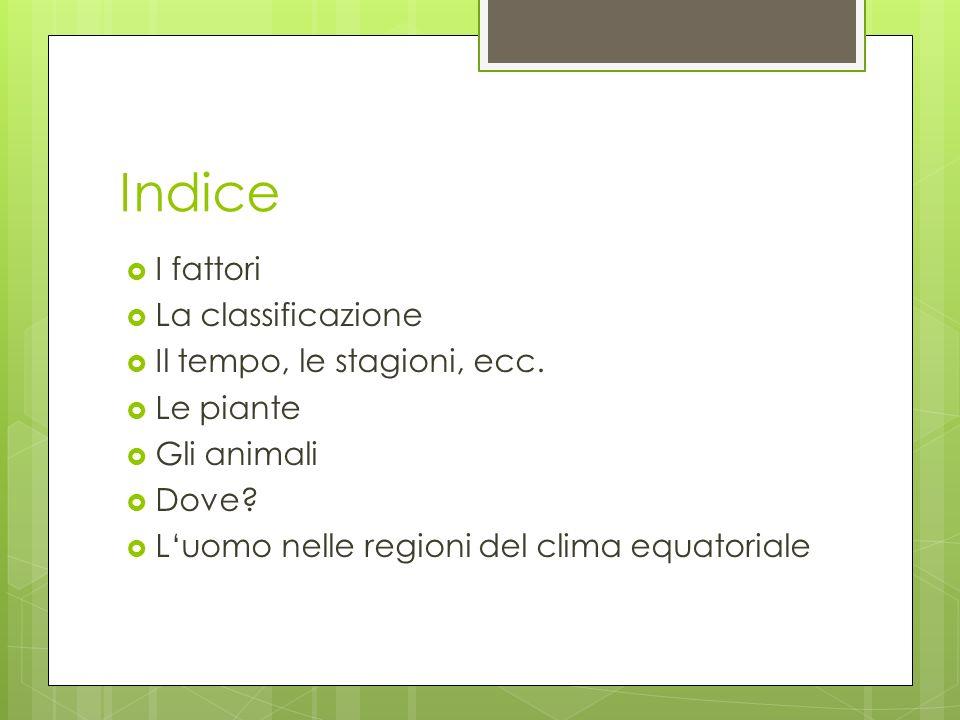 Indice I fattori La classificazione Il tempo, le stagioni, ecc. Le piante Gli animali Dove? Luomo nelle regioni del clima equatoriale