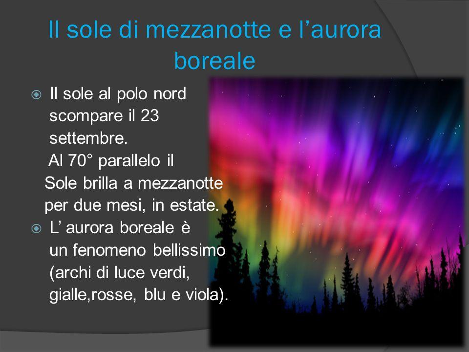 Il sole di mezzanotte e laurora boreale Il sole al polo nord scompare il 23 settembre.