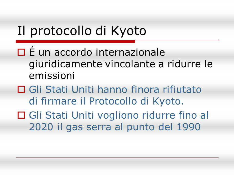 Il protocollo di Kyoto É un accordo internazionale giuridicamente vincolante a ridurre le emissioni Gli Stati Uniti hanno finora rifiutato di firmare
