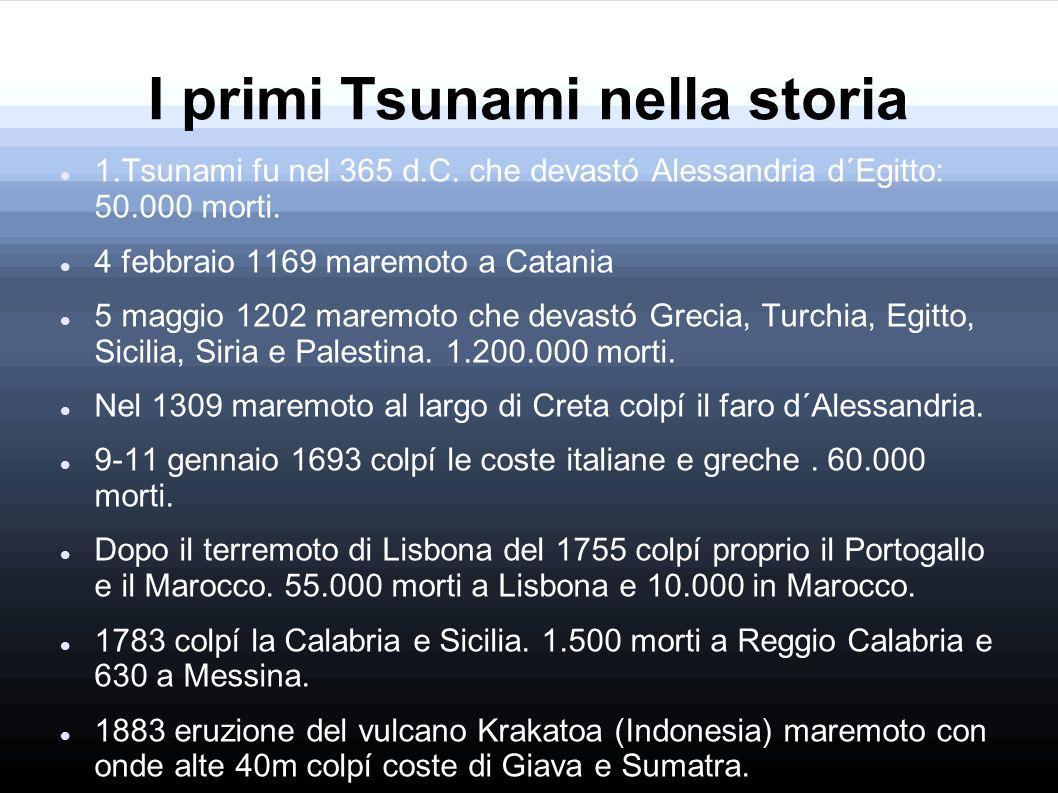 I primi Tsunami nella storia 1.Tsunami fu nel 365 d.C. che devastó Alessandria d´Egitto: 50.000 morti. 4 febbraio 1169 maremoto a Catania 5 maggio 120