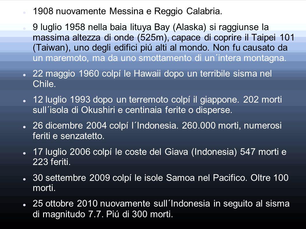 1908 nuovamente Messina e Reggio Calabria. 9 luglio 1958 nella baia lituya Bay (Alaska) si raggiunse la massima altezza di onde (525m), capace di copr