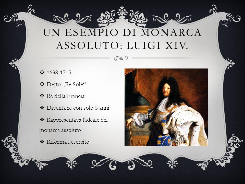 1638-1715 Detto Re Sole Re della Francia Diventa re con solo 5 anni Rappresentava lideale del monarca assoluto Riforma lesercito UN ESEMPIO DI MONARCA ASSOLUTO: LUIGI XIV.