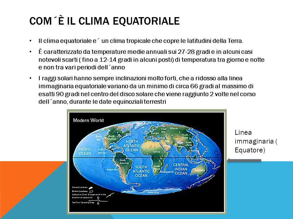 COM´È IL CLIMA EQUATORIALE Il clima equatoriale e´ un clima tropicale che copre le latitudini della Terra. È caratterizzato da temperature medie annua