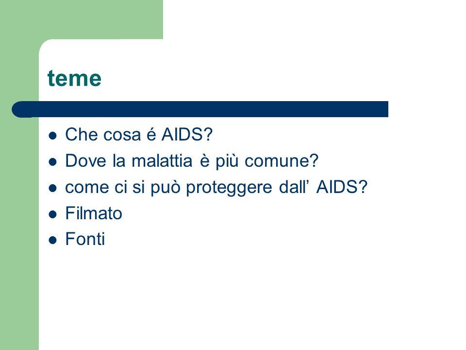 teme Che cosa é AIDS? Dove la malattia è più comune? come ci si può proteggere dall AIDS? Filmato Fonti