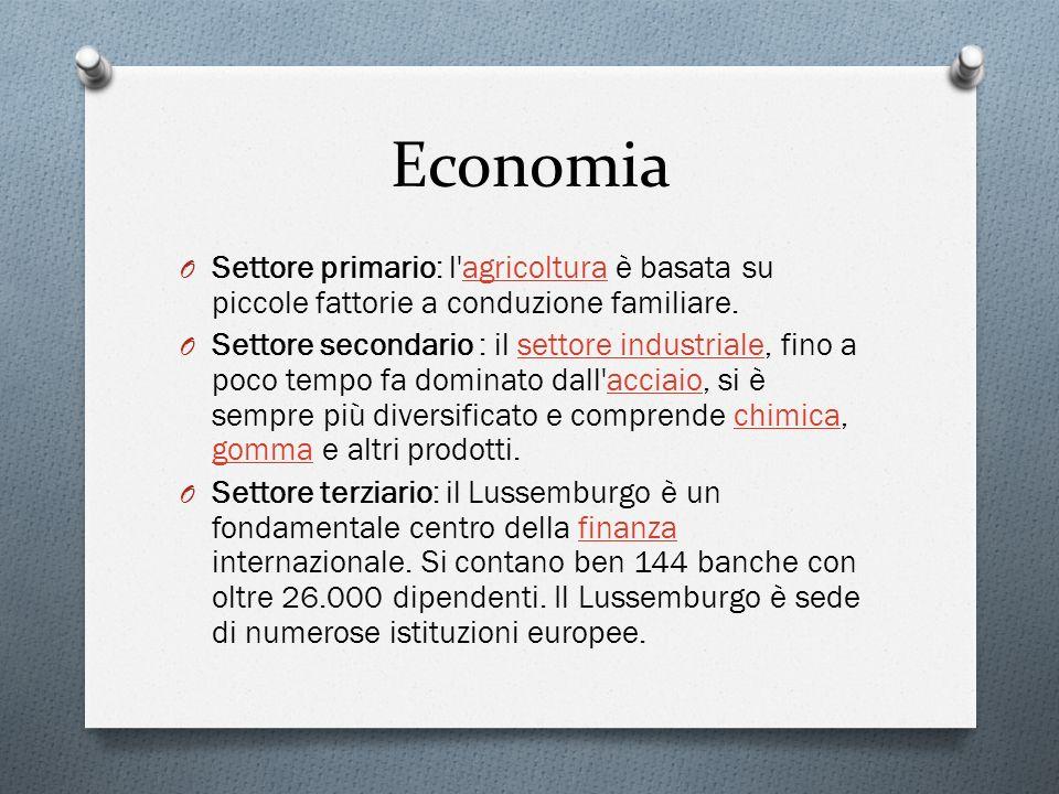 Economia O Settore primario: l'agricoltura è basata su piccole fattorie a conduzione familiare.agricoltura O Settore secondario : il settore industria