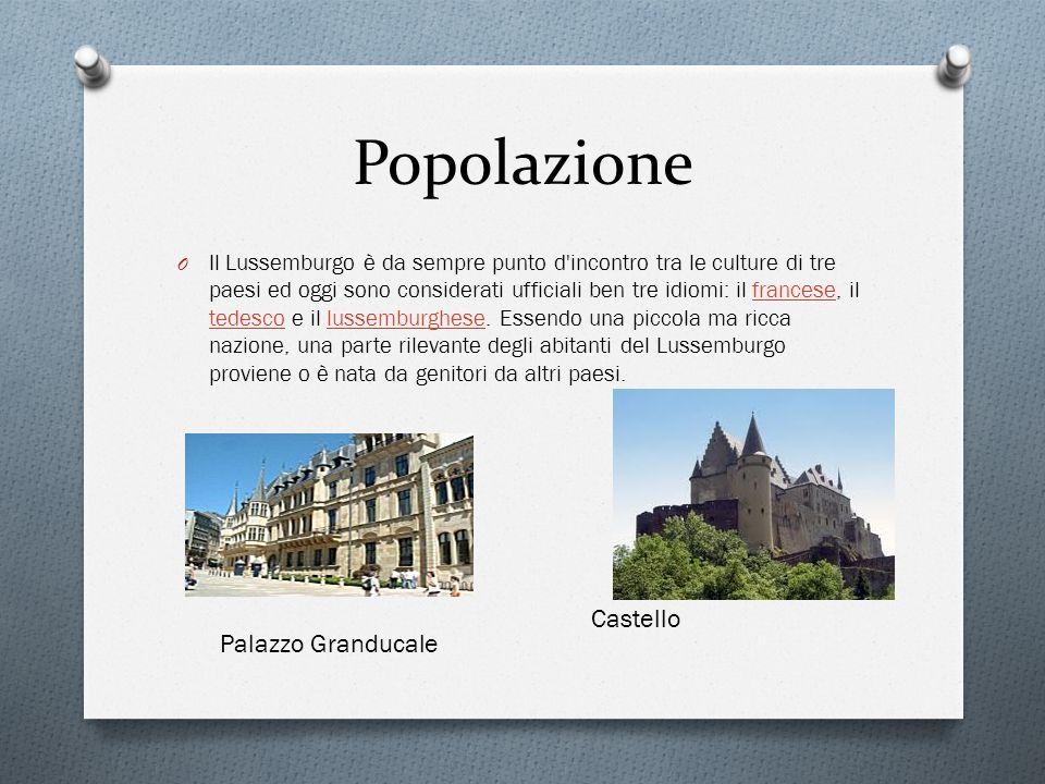 Popolazione O Il Lussemburgo è da sempre punto d'incontro tra le culture di tre paesi ed oggi sono considerati ufficiali ben tre idiomi: il francese,