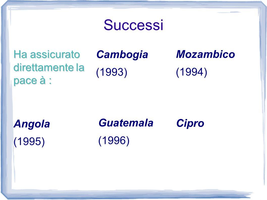 Successi Ha assicurato direttamente la pace à : Cambogia (1993) Mozambico (1994) Cipro Guatemala (1996) Angola (1995)