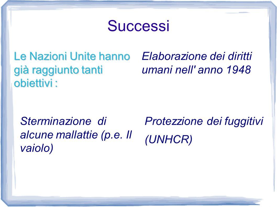 Successi Le Nazioni Unite hanno già raggiunto tanti obiettivi : Elaborazione dei diritti umani nell' anno 1948 Protezzione dei fuggitivi (UNHCR) Sterm