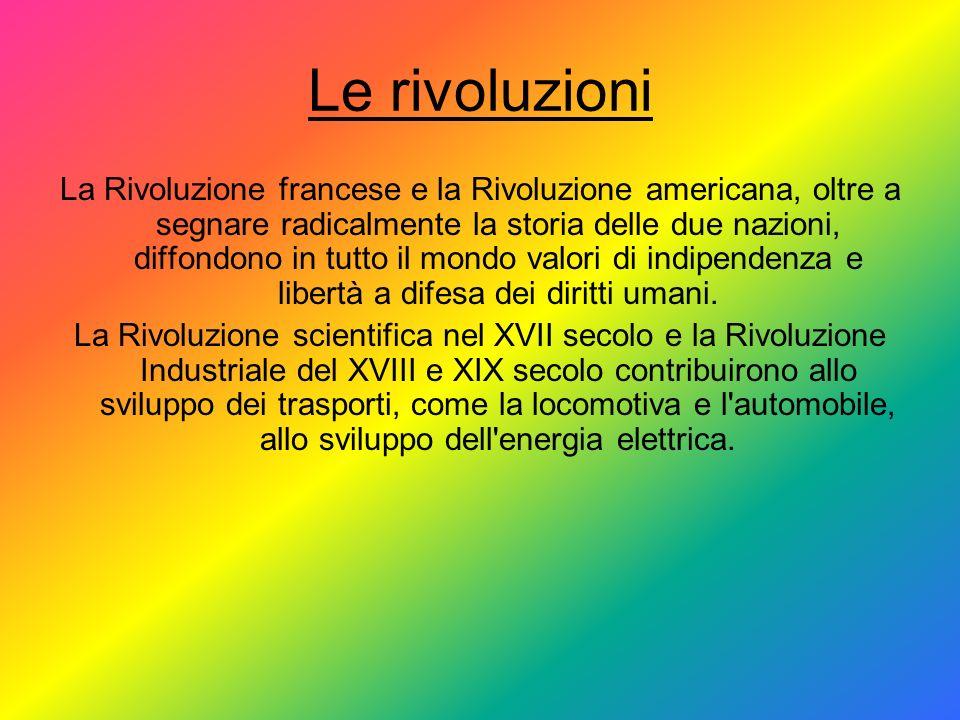 Le rivoluzioni La Rivoluzione francese e la Rivoluzione americana, oltre a segnare radicalmente la storia delle due nazioni, diffondono in tutto il mo