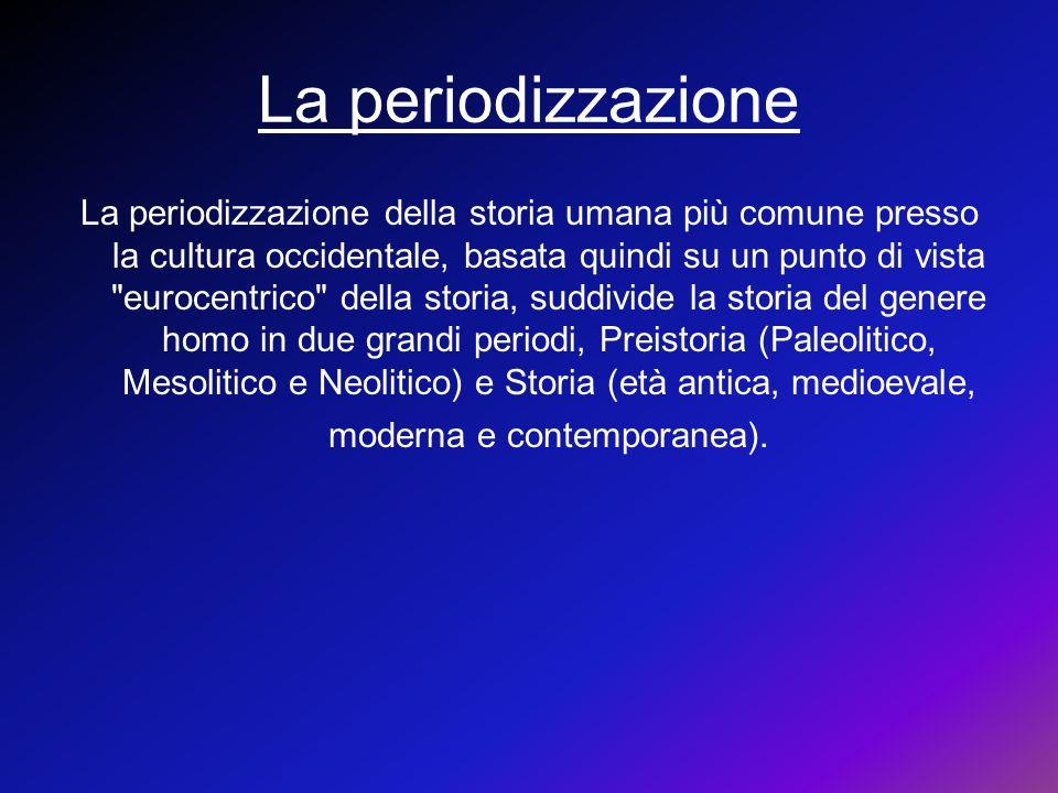 La periodizzazione La periodizzazione della storia umana più comune presso la cultura occidentale, basata quindi su un punto di vista