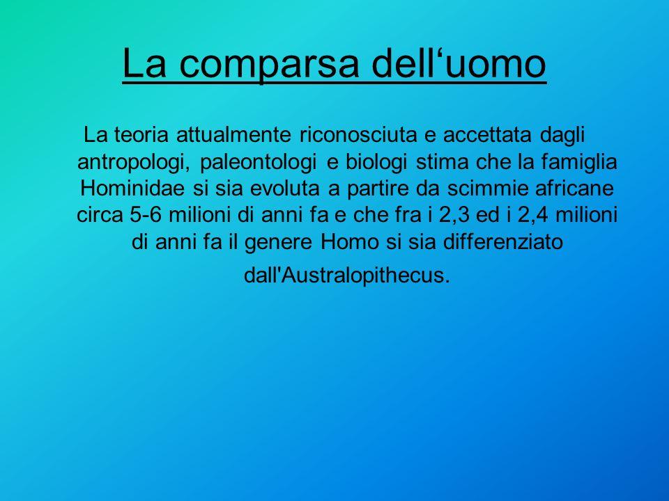 La comparsa delluomo La teoria attualmente riconosciuta e accettata dagli antropologi, paleontologi e biologi stima che la famiglia Hominidae si sia e