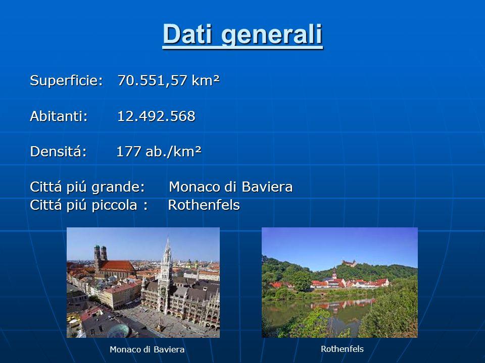 Dati generali Superficie: 70.551,57 km² Abitanti: 12.492.568 Densitá: 177 ab./km² Cittá piú grande: Monaco di Baviera Cittá piú piccola : Rothenfels M
