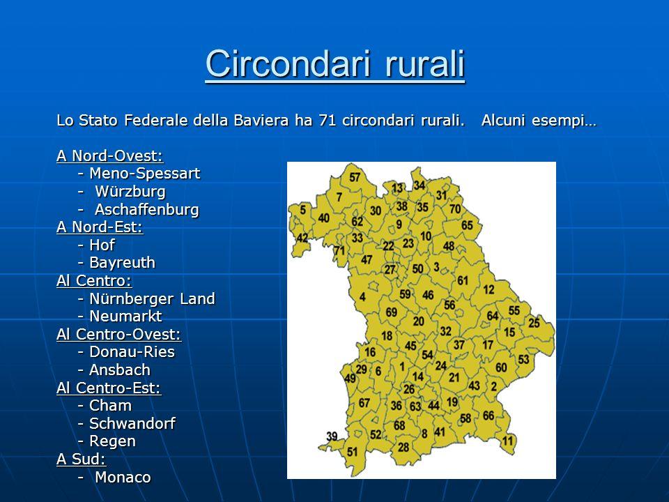 Circondari rurali Lo Stato Federale della Baviera ha 71 circondari rurali. Alcuni esempi… A Nord-Ovest: - Meno-Spessart - Meno-Spessart - Würzburg - W