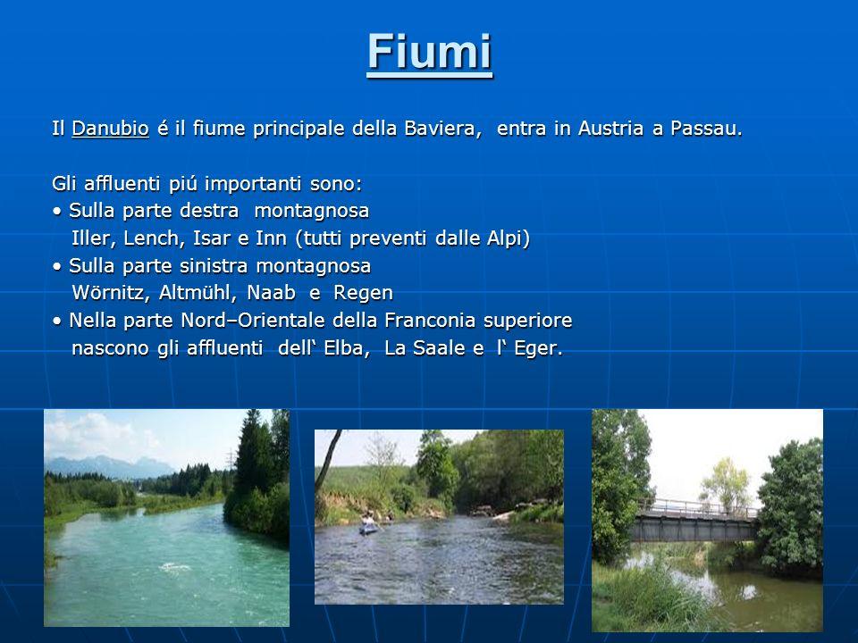 Fiumi Il Danubio é il fiume principale della Baviera, entra in Austria a Passau. Gli affluenti piú importanti sono: Sulla parte destra montagnosa Sull