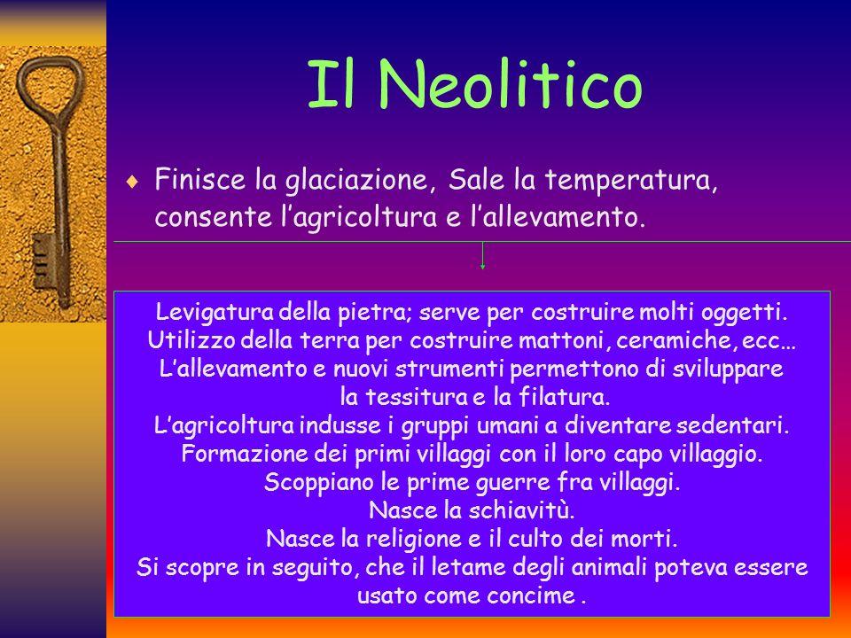 Il Neolitico Finisce la glaciazione, Sale la temperatura, consente lagricoltura e lallevamento.