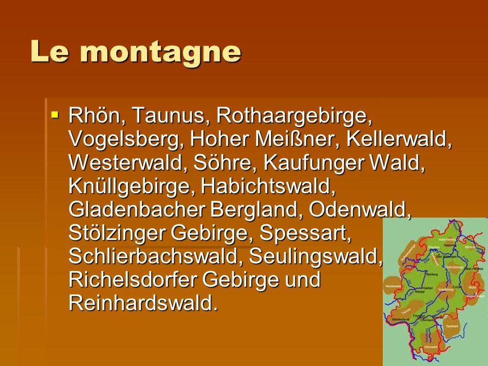 Le montagne Rhön, Taunus, Rothaargebirge, Vogelsberg, Hoher Meißner, Kellerwald, Westerwald, Söhre, Kaufunger Wald, Knüllgebirge, Habichtswald, Gladenbacher Bergland, Odenwald, Stölzinger Gebirge, Spessart, Schlierbachswald, Seulingswald, Richelsdorfer Gebirge und Reinhardswald.
