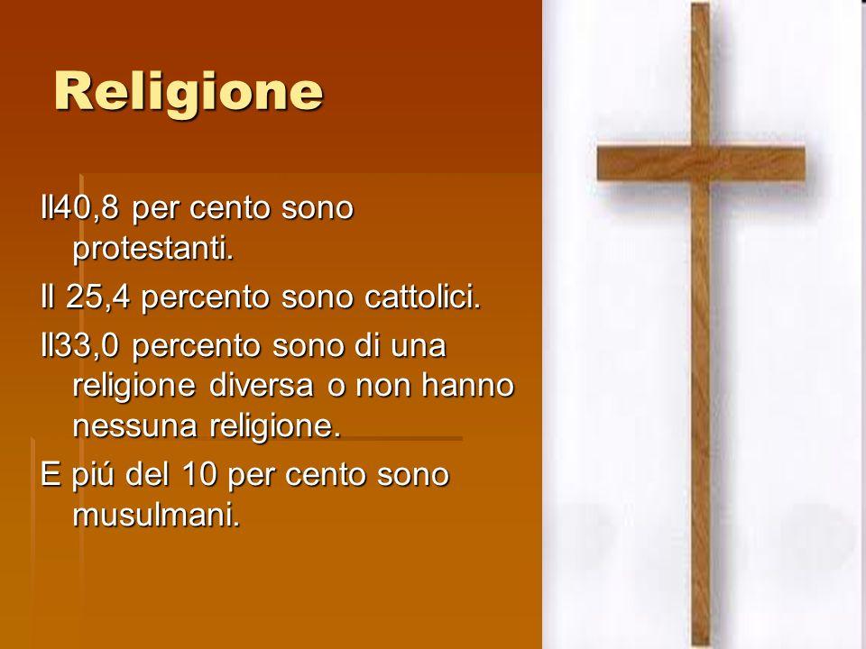 Religione Il40,8 per cento sono protestanti. Il 25,4 percento sono cattolici.