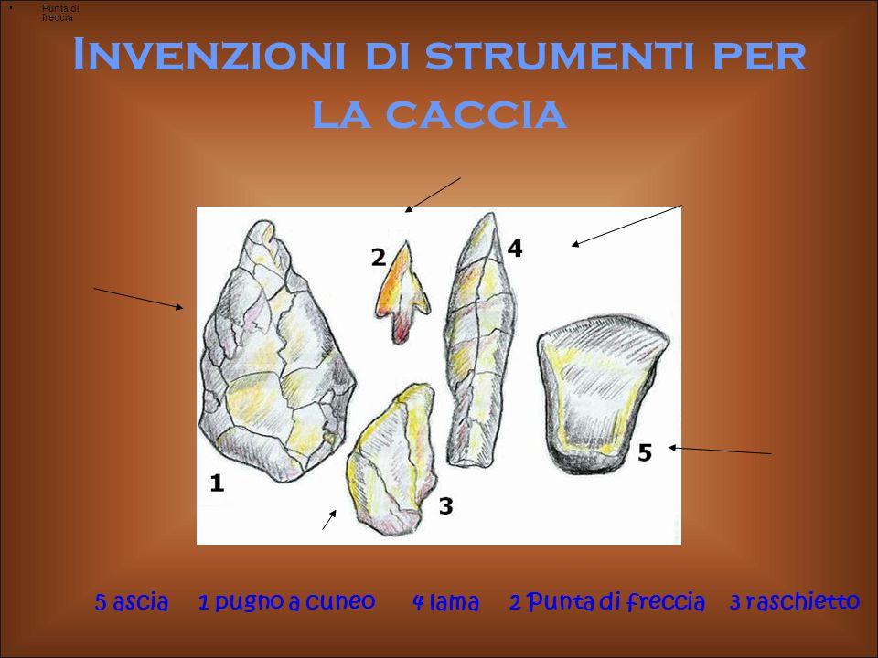 Invenzioni di strumenti per la caccia Punta di freccia 5 ascia 1 pugno a cuneo 4 lama 2 Punta di freccia 3 raschietto
