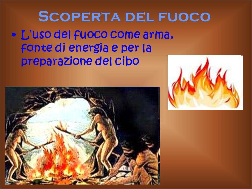 Scoperta del fuoco Luso del fuoco come arma, fonte di energia e per la preparazione del cibo