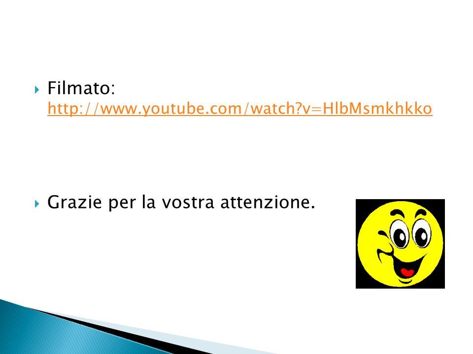 Filmato: http://www.youtube.com/watch?v=HlbMsmkhkko http://www.youtube.com/watch?v=HlbMsmkhkko Grazie per la vostra attenzione.