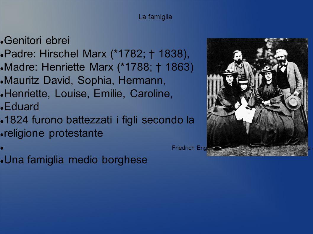 La famiglia Genitori ebrei Padre: Hirschel Marx (*1782; 1838), Madre: Henriette Marx (*1788; 1863) Mauritz David, Sophia, Hermann, Henriette, Louise,