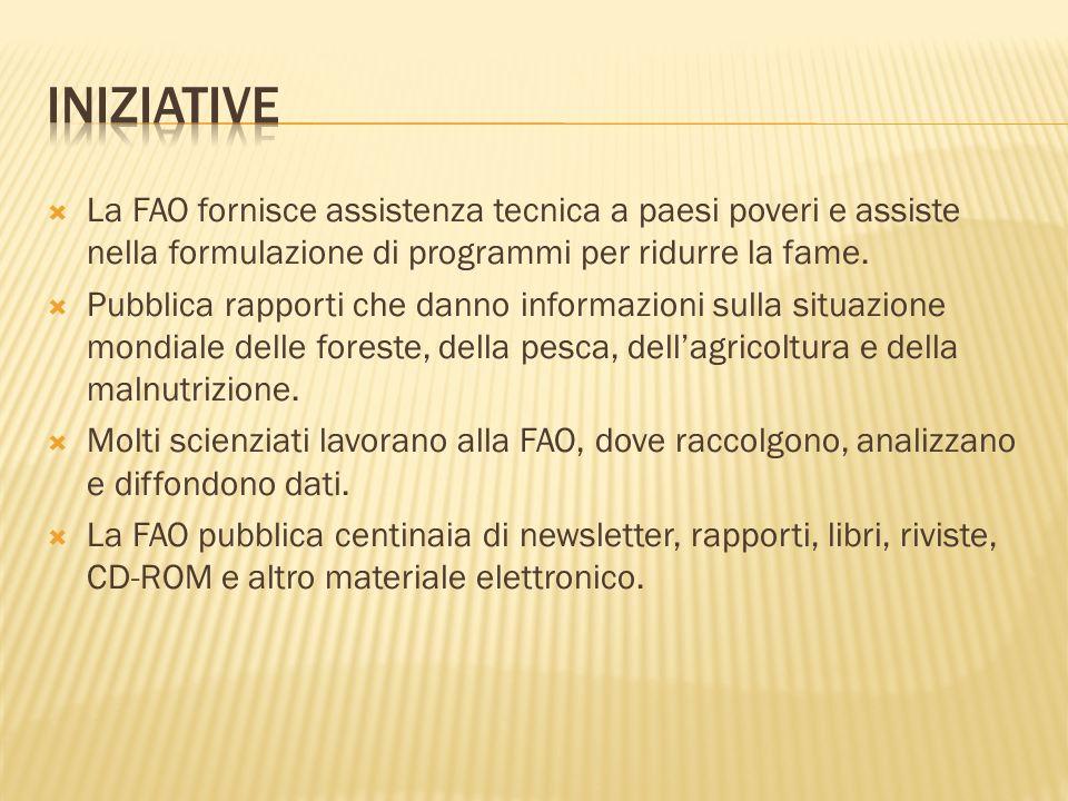 La FAO fornisce assistenza tecnica a paesi poveri e assiste nella formulazione di programmi per ridurre la fame. Pubblica rapporti che danno informazi