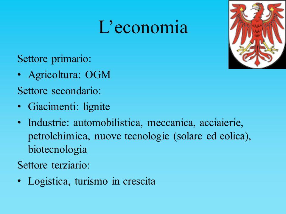 Leconomia Settore primario: Agricoltura: OGM Settore secondario: Giacimenti: lignite Industrie: automobilistica, meccanica, acciaierie, petrolchimica,