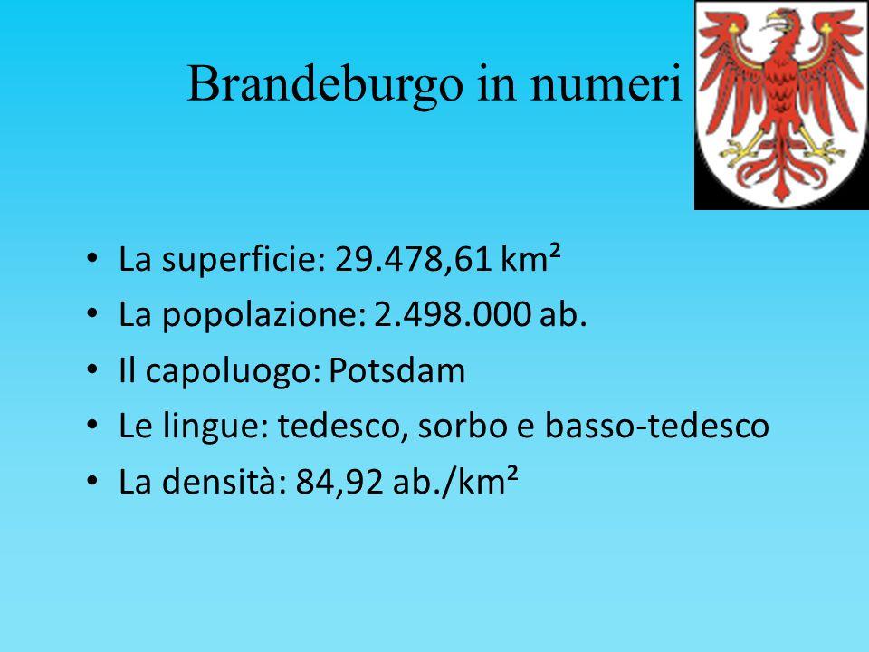 Brandeburgo in numeri La superficie: 29.478,61 km² La popolazione: 2.498.000 ab. Il capoluogo: Potsdam Le lingue: tedesco, sorbo e basso-tedesco La de