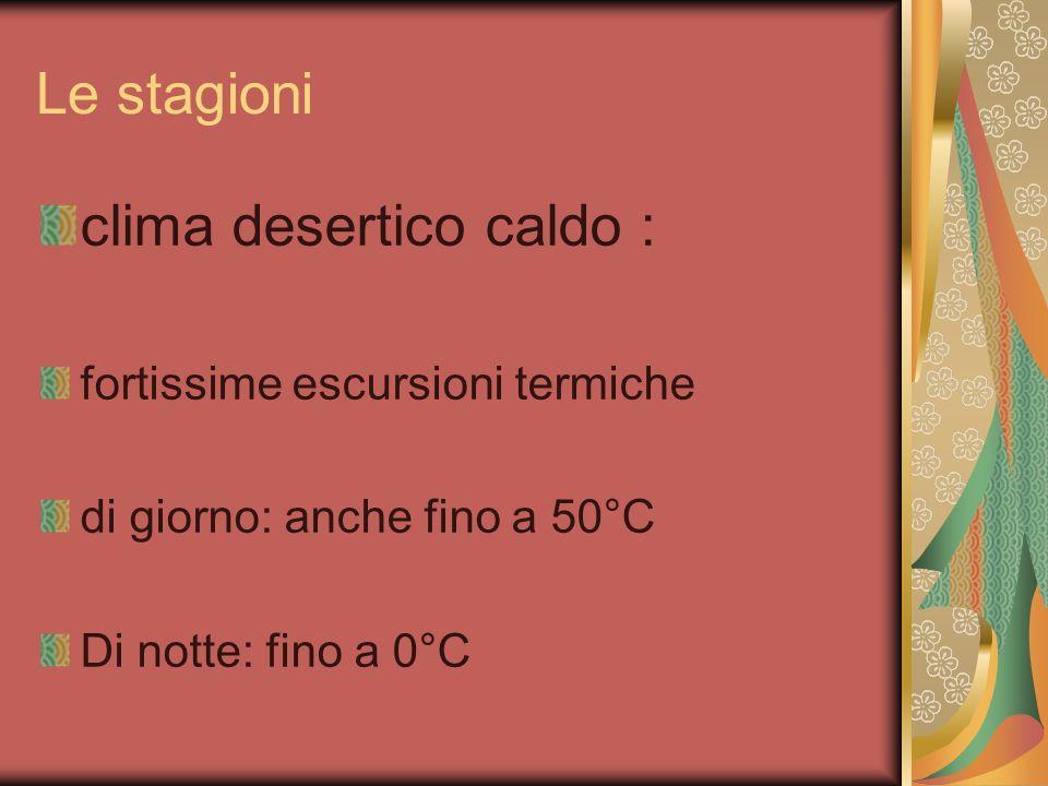 Le stagioni clima desertico caldo : fortissime escursioni termiche di giorno: anche fino a 50°C Di notte: fino a 0°C