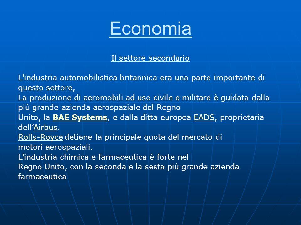 Economia Il settore secondario L'industria automobilistica britannica era una parte importante di questo settore, La produzione di aeromobili ad uso c
