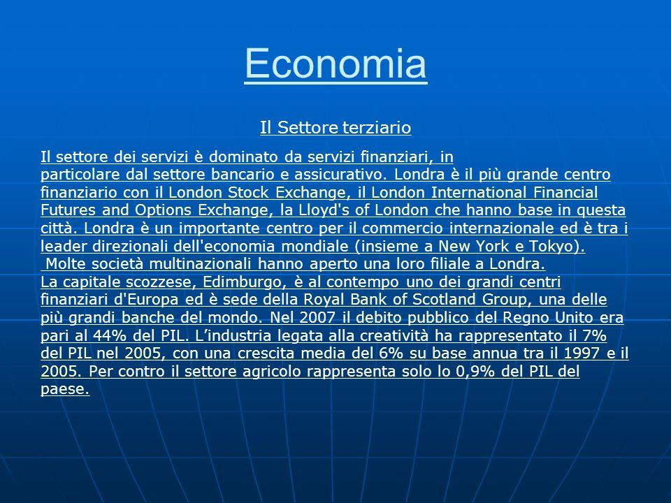 Economia Il Settore terziario Il settore dei servizi è dominato da servizi finanziari, inservizi finanziari particolare dal settore bancario e assicur