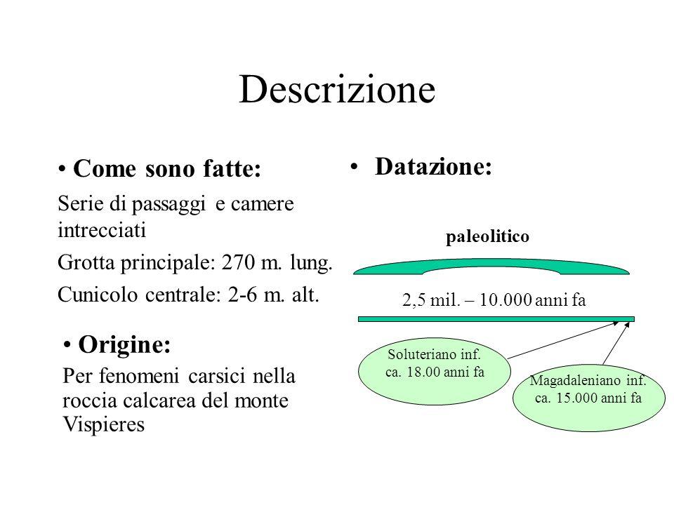 Descrizione Come sono fatte: Serie di passaggi e camere intrecciati Grotta principale: 270 m. lung. Cunicolo centrale: 2-6 m. alt. Datazione: paleolit