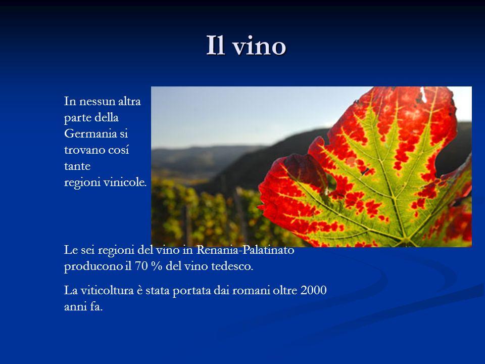 Il vino Il vino In nessun altra parte della Germania si trovano cosí tante regioni vinicole. Le sei regioni del vino in Renania-Palatinato producono i