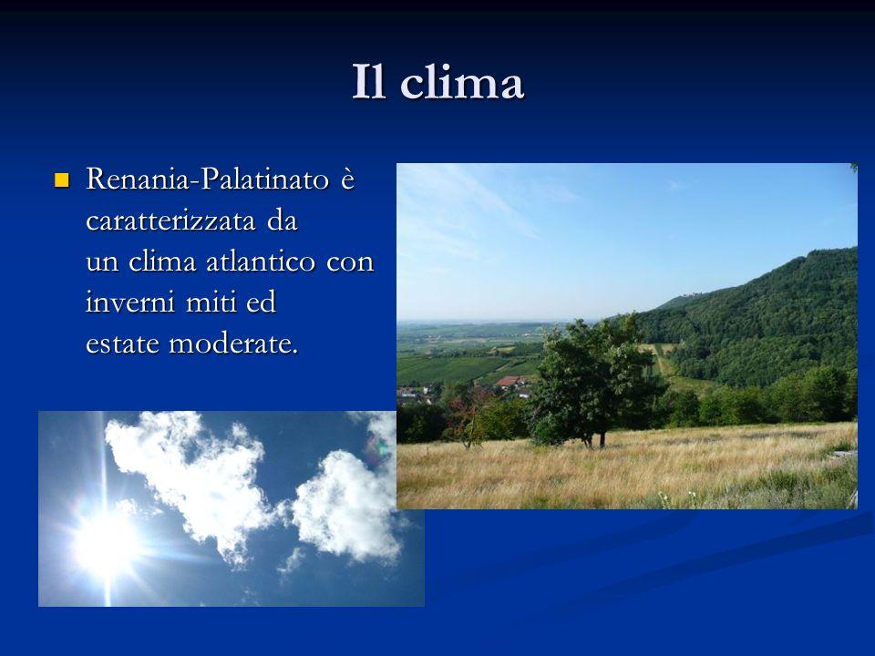 Il clima Renania-Palatinato è caratterizzata da un clima atlantico con inverni miti ed estate moderate. Renania-Palatinato è caratterizzata da un clim