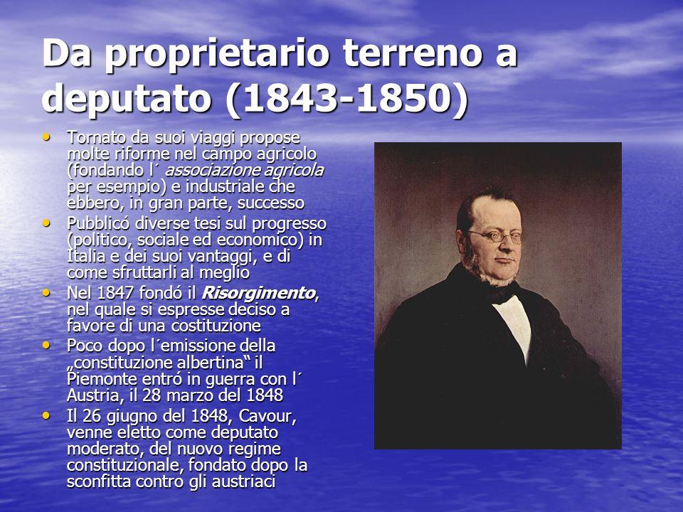 Da proprietario terreno a deputato (1843-1850) Tornato da suoi viaggi propose molte riforme nel campo agricolo (fondando l´ associazione agricola per